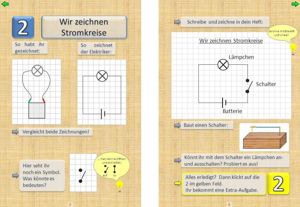 Wir zeichnen Stromkreise So habt ihr gezeichnet: Vergleicht beide Zeichnungen! So zeichnet der Elektriker: Hier seht ihr noch ein Symbol. Was könnte e