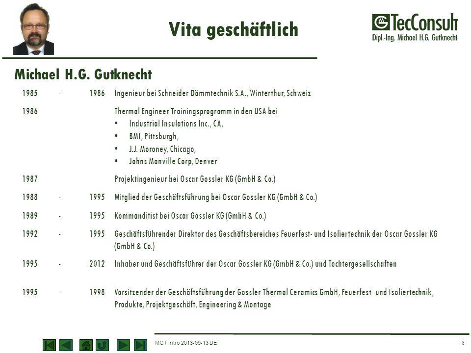 MGT Intro 2013-09-13 DE Vita geschäftlich 8 1985-1986Ingenieur bei Schneider Dämmtechnik S.A., Winterthur, Schweiz 1986Thermal Engineer Trainingsprogr