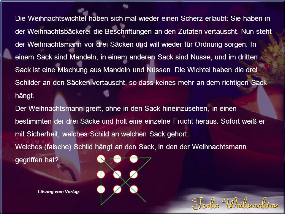 Lösung vom Vortag: Ernst ist erst 13.Klaus ist 17 und Bernd 15 Jahre alt.