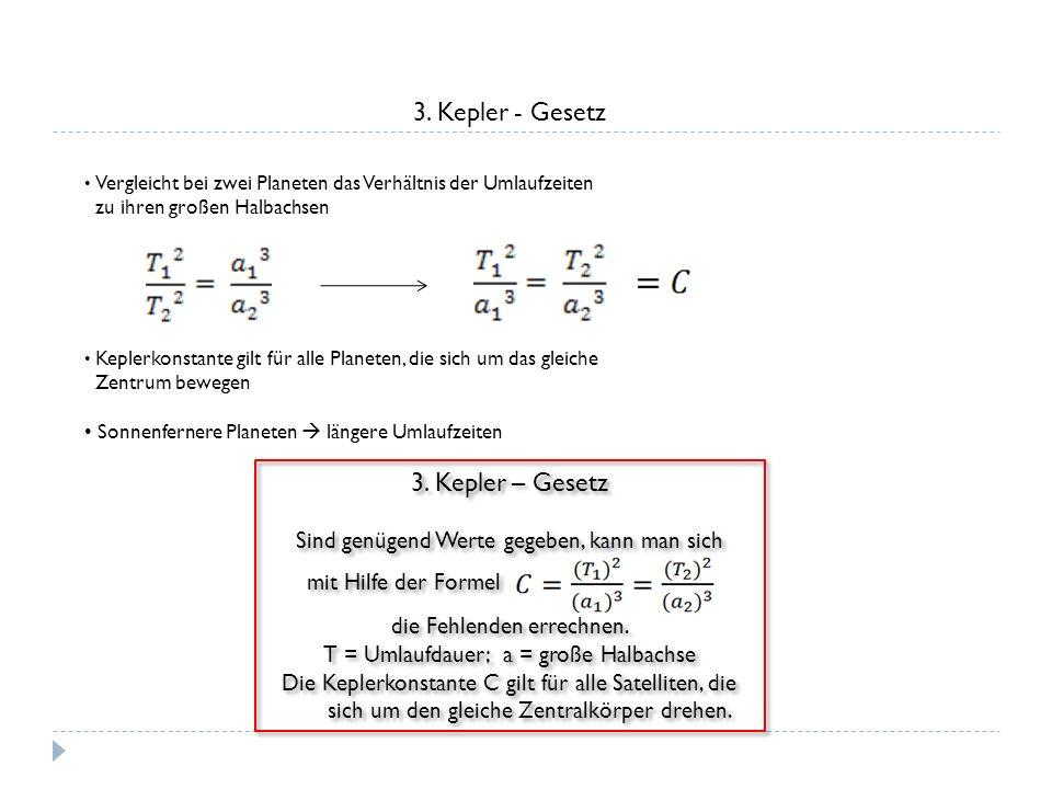 3. Kepler - Gesetz Vergleicht bei zwei Planeten das Verhältnis der Umlaufzeiten zu ihren großen Halbachsen Keplerkonstante gilt für alle Planeten, die