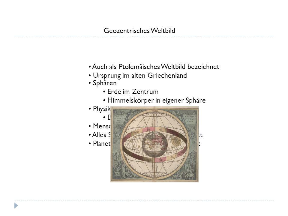 Geozentrisches Weltbild Auch als Ptolemäisches Weltbild bezeichnet Ursprung im alten Griechenland Sphären Erde im Zentrum Himmelskörper in eigener Sph