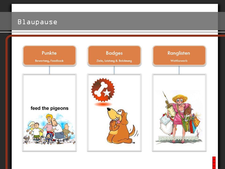 Blaupause http://www.foursquare.com/ Punkte Bewertung, Feedback Badges Ziele, Leistung & Belohnung Ranglisten Wettbewerb