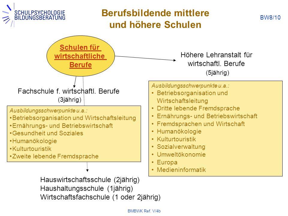 BMBWK Ref. V/4b BW8/10 Berufsbildende mittlere und höhere Schulen Schulen für wirtschaftliche Berufe Fachschule f. wirtschaftl. Berufe (3jährig) Ausbi