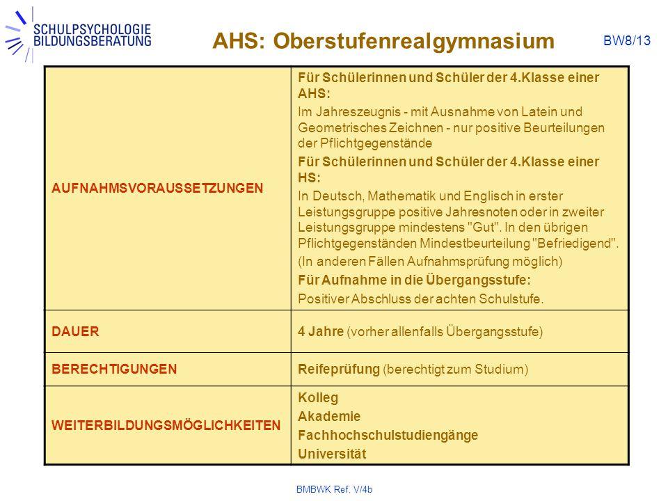 BMBWK Ref. V/4b BW8/13 AHS: Oberstufenrealgymnasium AUFNAHMSVORAUSSETZUNGEN Für Schülerinnen und Schüler der 4.Klasse einer AHS: Im Jahreszeugnis - mi