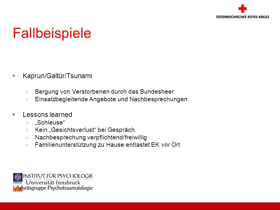 Fallbeispiele Kaprun/Galtür/Tsunami -Bergung von Verstorbenen durch das Bundesheer -Einsatzbegleitende Angebote und Nachbesprechungen Lessons learned