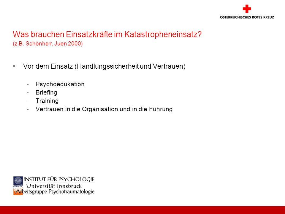 Was brauchen Einsatzkräfte im Katastropheneinsatz? (z.B. Schönherr, Juen 2000) Vor dem Einsatz (Handlungssicherheit und Vertrauen) -Psychoedukation -B