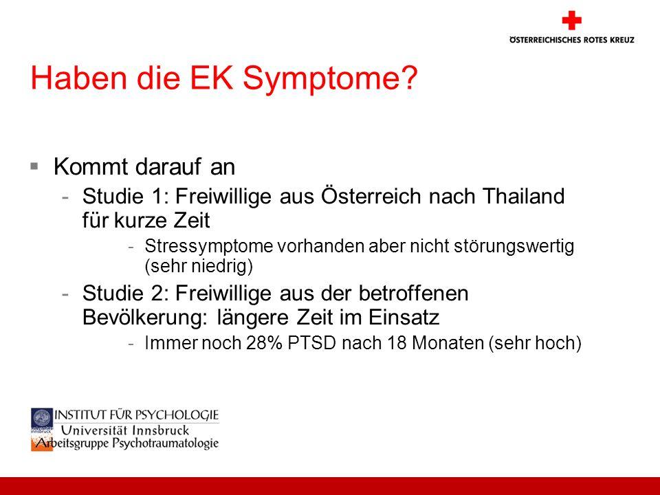 Haben die EK Symptome? Kommt darauf an -Studie 1: Freiwillige aus Österreich nach Thailand für kurze Zeit -Stressymptome vorhanden aber nicht störungs