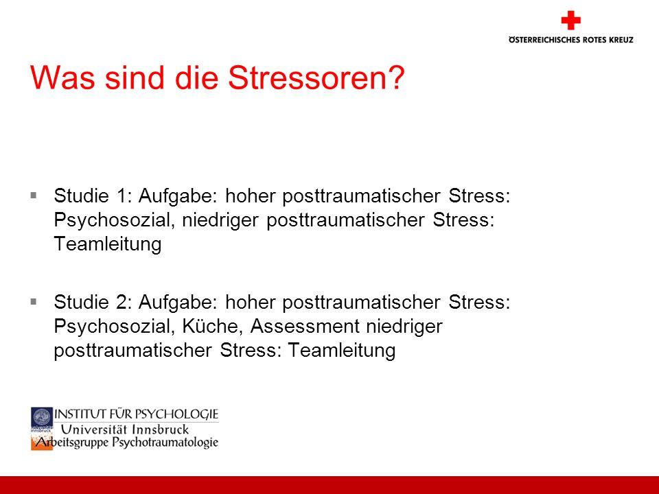 Was sind die Stressoren? Studie 1: Aufgabe: hoher posttraumatischer Stress: Psychosozial, niedriger posttraumatischer Stress: Teamleitung Studie 2: Au