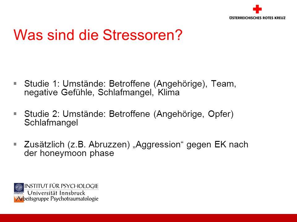 Was sind die Stressoren? Studie 1: Umstände: Betroffene (Angehörige), Team, negative Gefühle, Schlafmangel, Klima Studie 2: Umstände: Betroffene (Ange