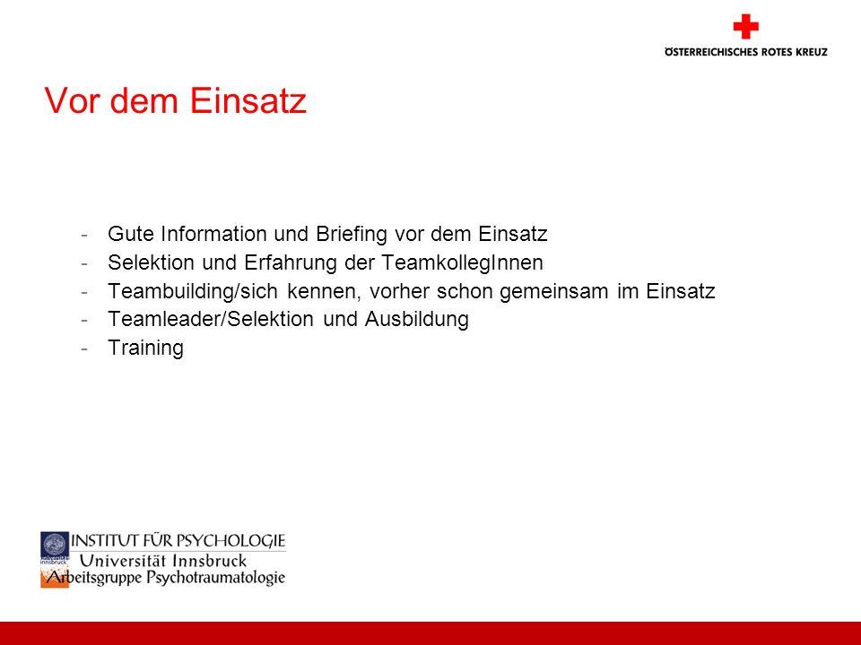 Vor dem Einsatz -Gute Information und Briefing vor dem Einsatz -Selektion und Erfahrung der TeamkollegInnen -Teambuilding/sich kennen, vorher schon ge