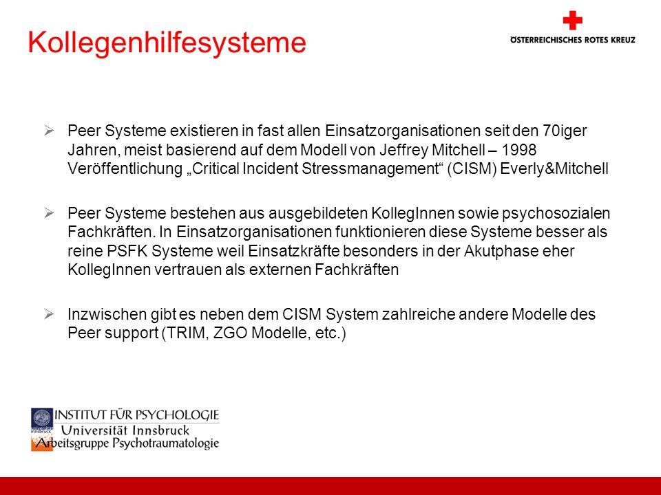 Kollegenhilfesysteme Peer Systeme existieren in fast allen Einsatzorganisationen seit den 70iger Jahren, meist basierend auf dem Modell von Jeffrey Mi
