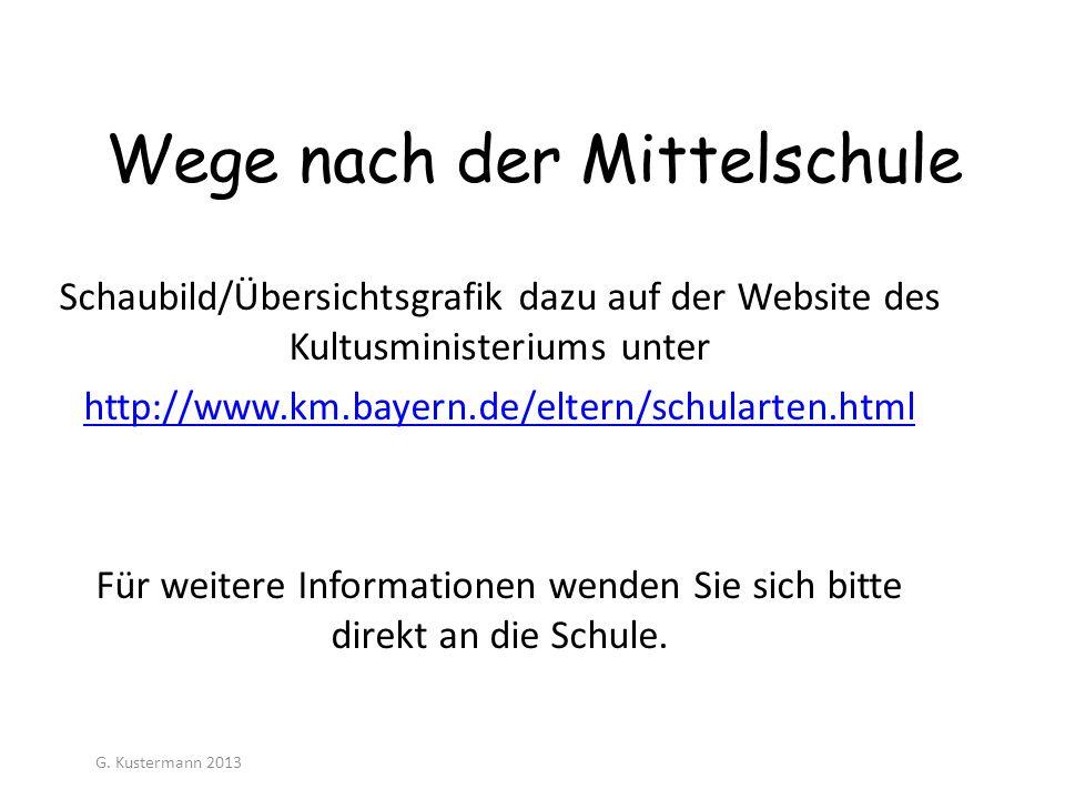 Wege nach der Mittelschule Schaubild/Übersichtsgrafik dazu auf der Website des Kultusministeriums unter http://www.km.bayern.de/eltern/schularten.html
