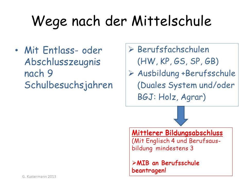 Wege nach der Mittelschule Berufsfachschulen (HW, KP, GS, SP, GB) Ausbildung +Berufsschule (Duales System und/oder BGJ: Holz, Agrar) Mit Entlass- oder