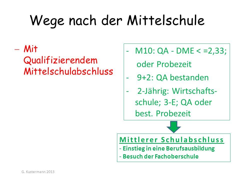 Wege nach der Mittelschule -M10: QA - DME < =2,33; oder Probezeit - 9+2: QA bestanden - 2-Jährig: Wirtschafts- schule; 3-E; QA oder best. Probezeit Mi