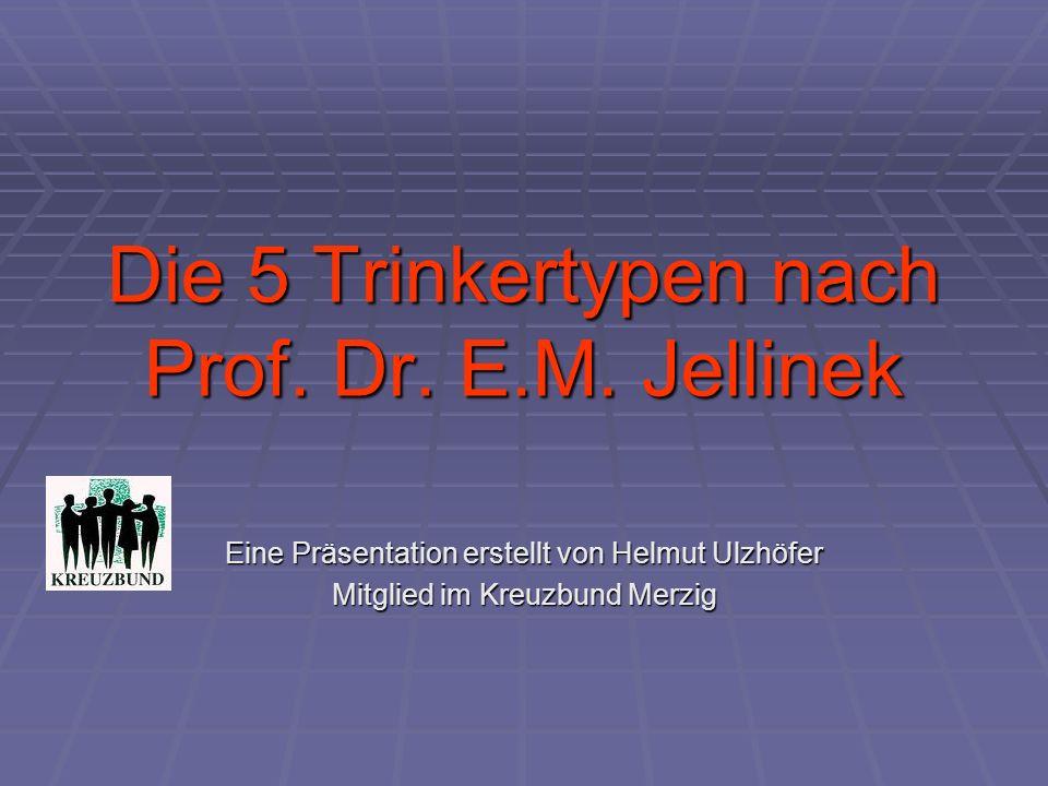 Die 5 Trinkertypen nach Prof. Dr. E.M. Jellinek Eine Präsentation erstellt von Helmut Ulzhöfer Mitglied im Kreuzbund Merzig
