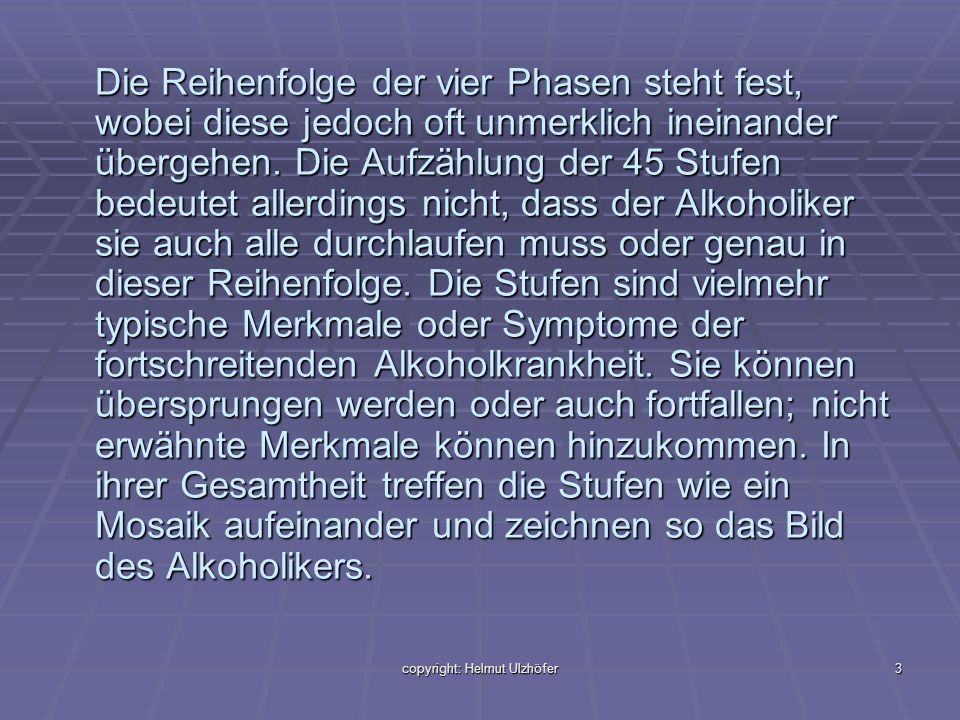 copyright: Helmut Ulzhöfer3 Die Reihenfolge der vier Phasen steht fest, wobei diese jedoch oft unmerklich ineinander übergehen. Die Aufzählung der 45