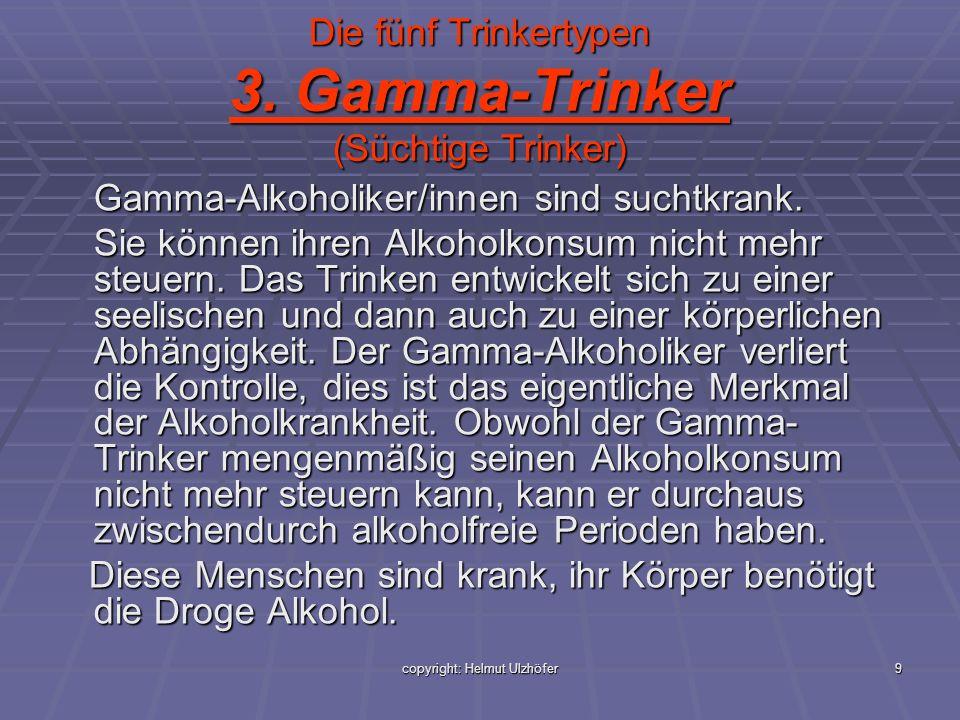 copyright: Helmut Ulzhöfer9 Die fünf Trinkertypen 3. Gamma-Trinker (Süchtige Trinker) Gamma-Alkoholiker/innen sind suchtkrank. Sie können ihren Alkoho