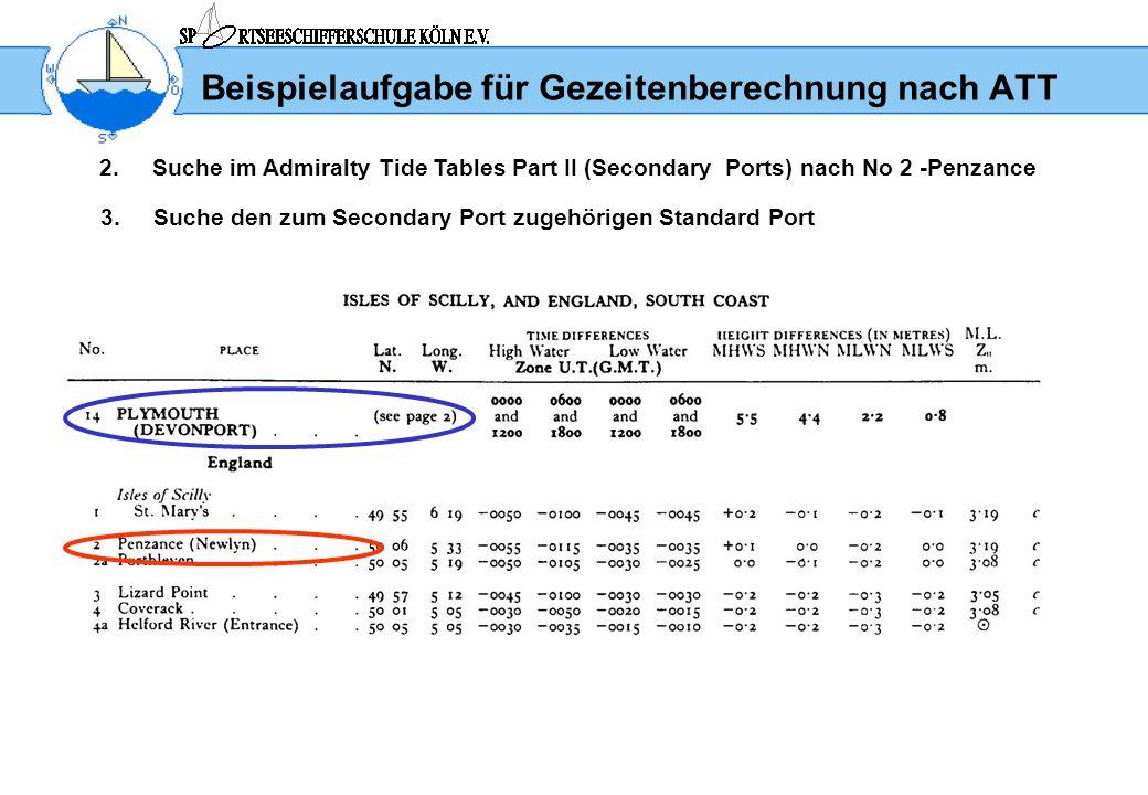 Beispielaufgabe für Gezeitenberechnung nach ATT 2.Suche im Admiralty Tide Tables Part II (Secondary Ports) nach No 2 -Penzance 3.Suche den zum Seconda