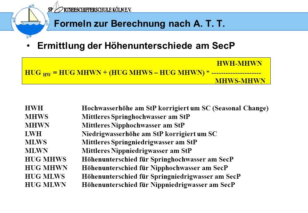 Formeln zur Berechnung nach A. T. T. Ermittlung der Höhenunterschiede am SecP HWH-MHWN HUG HW = HUG MHWN + (HUG MHWS – HUG MHWN) * -------------------