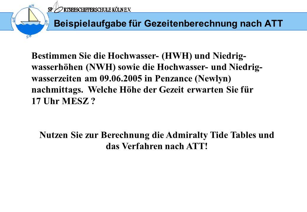 Beispielaufgabe für Gezeitenberechnung nach ATT 1.Suche im Geographical Index der Admiralty Tide Tables Part II (Secondary Ports) nach Penzance