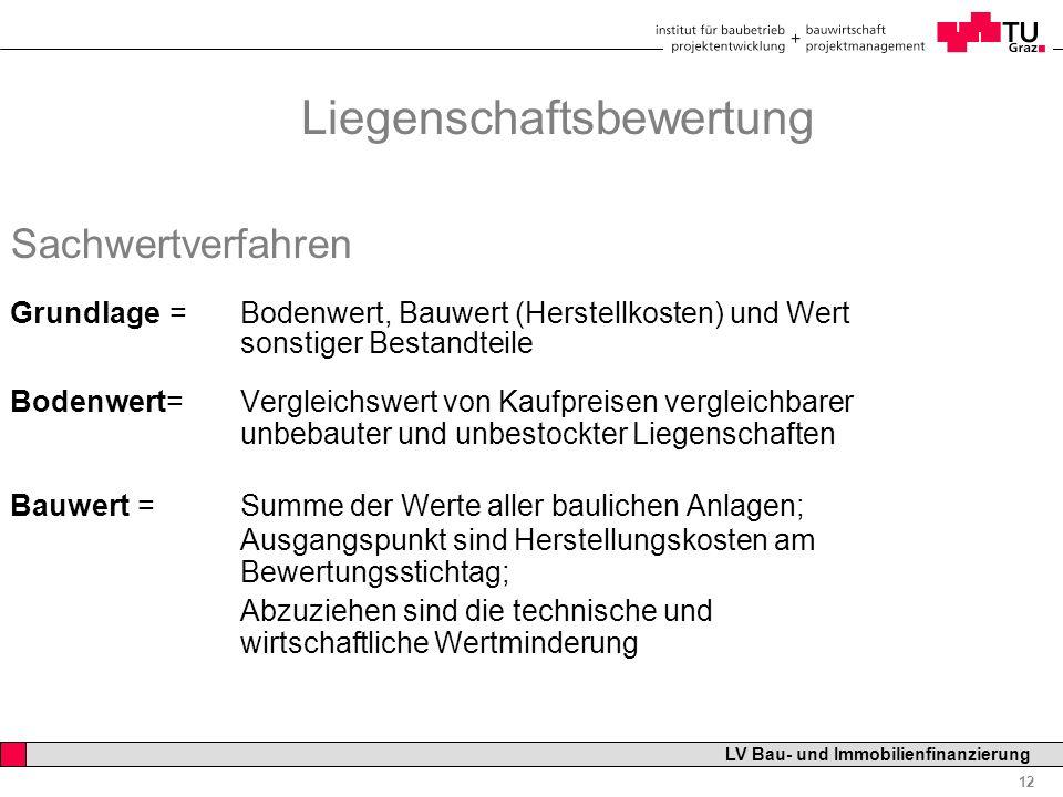 Professor Horst Cerjak, 19.12.2005 12 LV Bau- und Immobilienfinanzierung Liegenschaftsbewertung Sachwertverfahren Grundlage = Bodenwert, Bauwert (Hers