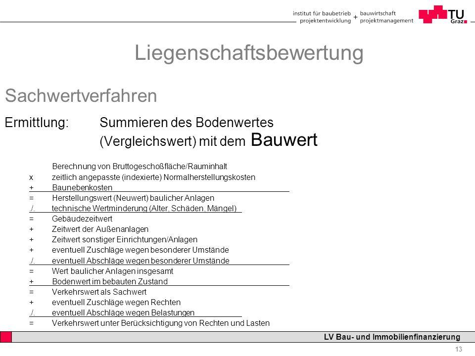 Professor Horst Cerjak, 19.12.2005 13 LV Bau- und Immobilienfinanzierung Liegenschaftsbewertung Sachwertverfahren Ermittlung: Summieren des Bodenwerte