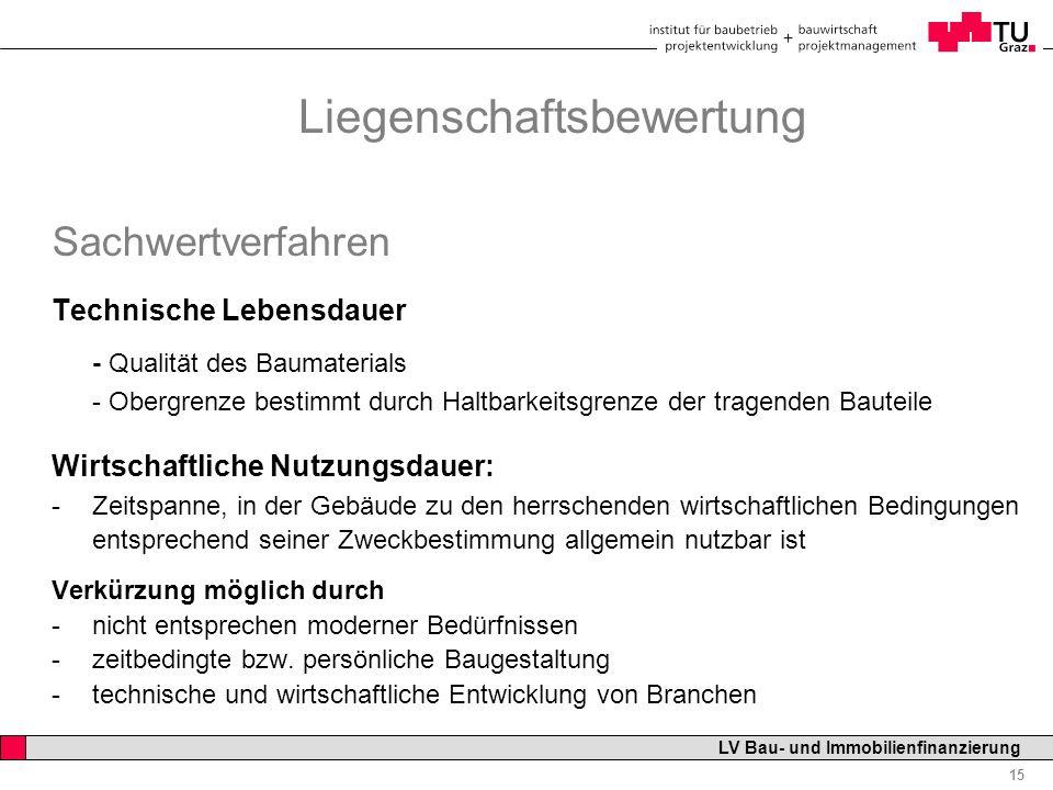 Professor Horst Cerjak, 19.12.2005 15 LV Bau- und Immobilienfinanzierung Liegenschaftsbewertung Sachwertverfahren Technische Lebensdauer - Qualität de