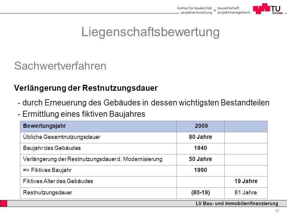 Professor Horst Cerjak, 19.12.2005 17 LV Bau- und Immobilienfinanzierung Liegenschaftsbewertung Sachwertverfahren Verlängerung der Restnutzungsdauer -