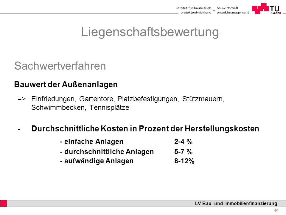 Professor Horst Cerjak, 19.12.2005 19 LV Bau- und Immobilienfinanzierung Liegenschaftsbewertung Sachwertverfahren Bauwert der Außenanlagen => Einfried