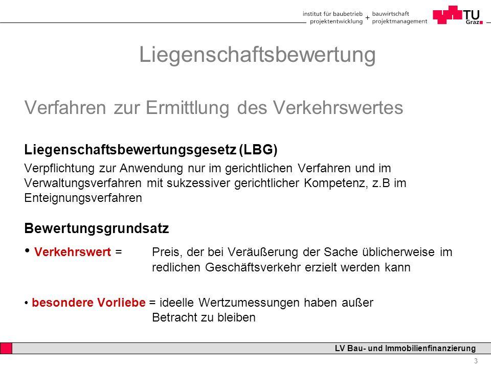 Professor Horst Cerjak, 19.12.2005 3 LV Bau- und Immobilienfinanzierung Liegenschaftsbewertung Verfahren zur Ermittlung des Verkehrswertes Liegenschaf