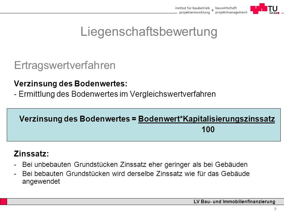 Professor Horst Cerjak, 19.12.2005 10 LV Bau- und Immobilienfinanzierung Ertragswertverfahren Vervielfältiger : -Jährlicher Reinertrag wird mit der Rate einer jährlich nachschüssig zu zahlenden Zeitrente gleichgesetzt Vervielfältiger richtet sich nach - Kapitalisierungszinsatz - Restnutzungsdauer des Gebäudes qu = 1 + p/100 p = Kapitalisierungszinssatz n = Restnutzungsdauer Liegenschaftsbewertung