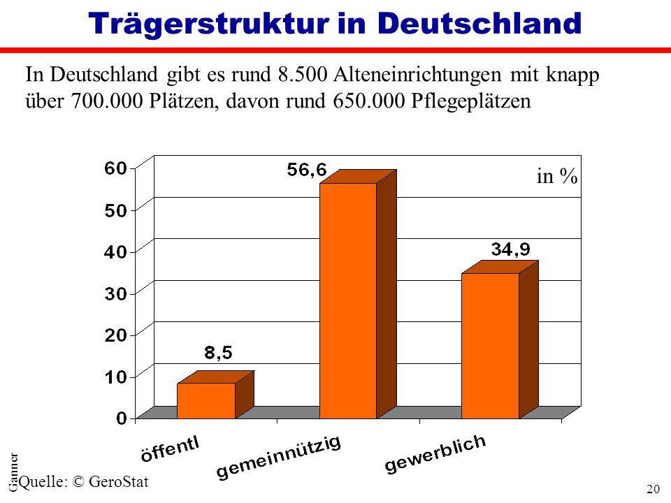 20 Ganner Trägerstruktur in Deutschland In Deutschland gibt es rund 8.500 Alteneinrichtungen mit knapp über 700.000 Plätzen, davon rund 650.000 Pflege