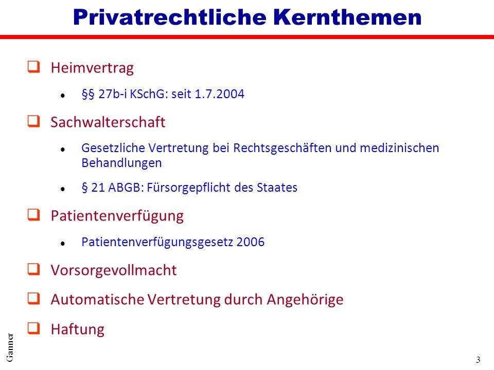 3 Ganner Privatrechtliche Kernthemen qHeimvertrag l §§ 27b-i KSchG: seit 1.7.2004 qSachwalterschaft l Gesetzliche Vertretung bei Rechtsgeschäften und