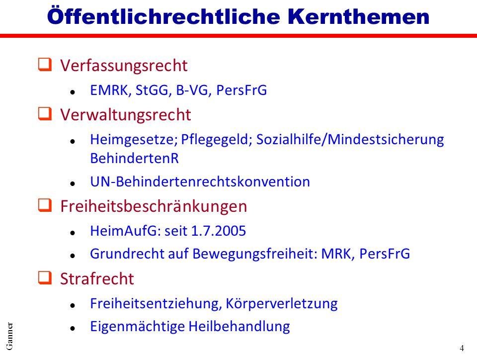 4 Ganner Öffentlichrechtliche Kernthemen qVerfassungsrecht l EMRK, StGG, B-VG, PersFrG qVerwaltungsrecht l Heimgesetze; Pflegegeld; Sozialhilfe/Mindes