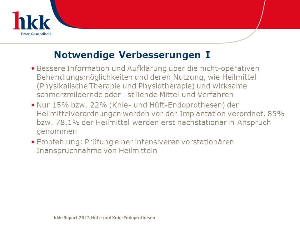 hkk-Report 2013 Hüft- und Knie-Endoprothesen Notwendige Verbesserungen I Bessere Information und Aufklärung über die nicht-operativen Behandlungsmögli