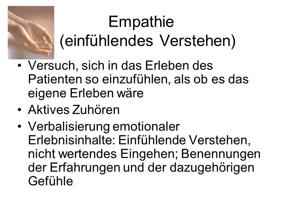 Empathie (einfühlendes Verstehen) Versuch, sich in das Erleben des Patienten so einzufühlen, als ob es das eigene Erleben wäre Aktives Zuhören Verbali