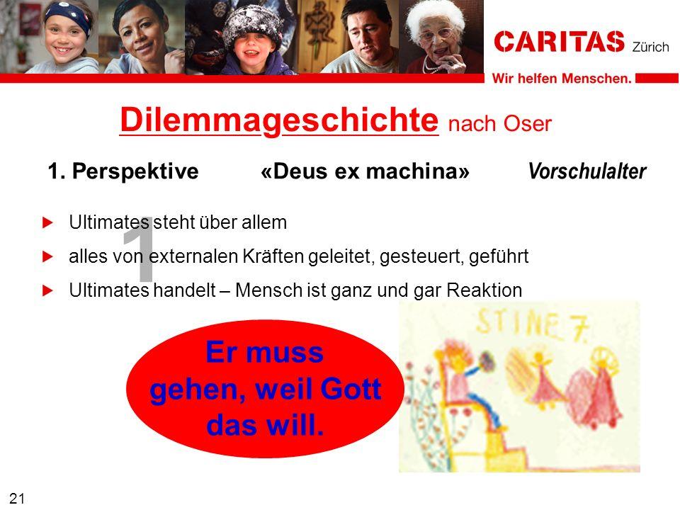 1 21 1. Perspektive«Deus ex machina» Vorschulalter Dilemmageschichte nach Oser Er muss gehen, weil Gott das will. Ultimates steht über allem alles von