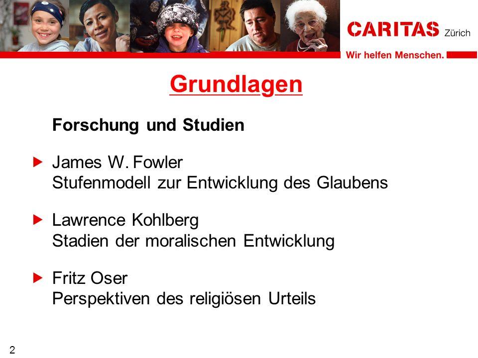 2 Forschung und Studien James W. Fowler Stufenmodell zur Entwicklung des Glaubens Lawrence Kohlberg Stadien der moralischen Entwicklung Fritz Oser Per