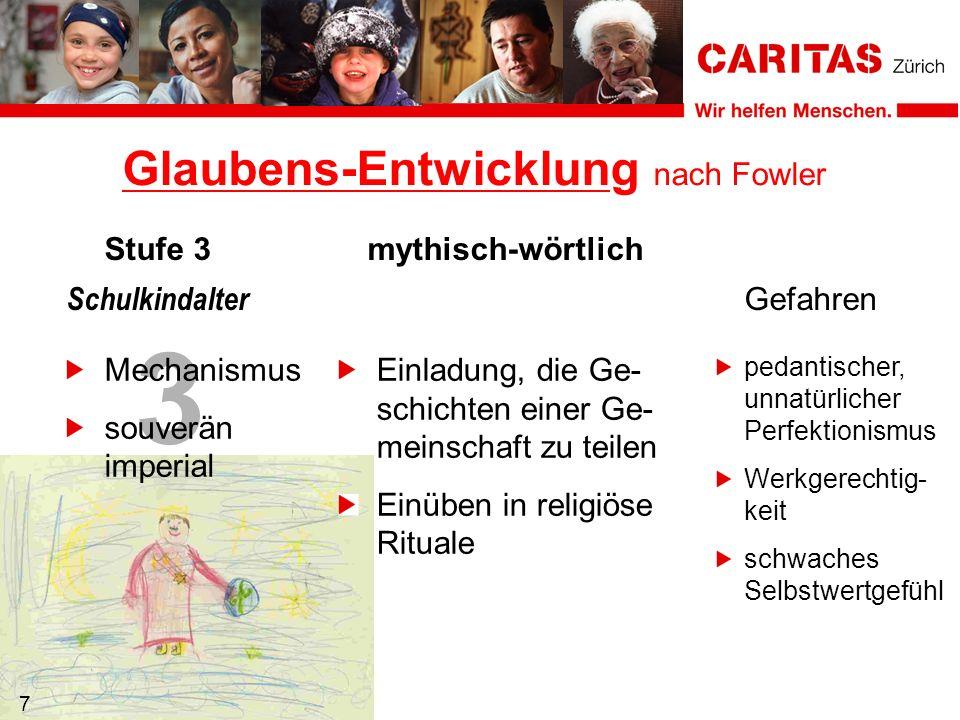3 7 Mechanismus souverän imperial Einladung, die Ge- schichten einer Ge- meinschaft zu teilen Einüben in religiöse Rituale Glaubens-Entwicklung nach F