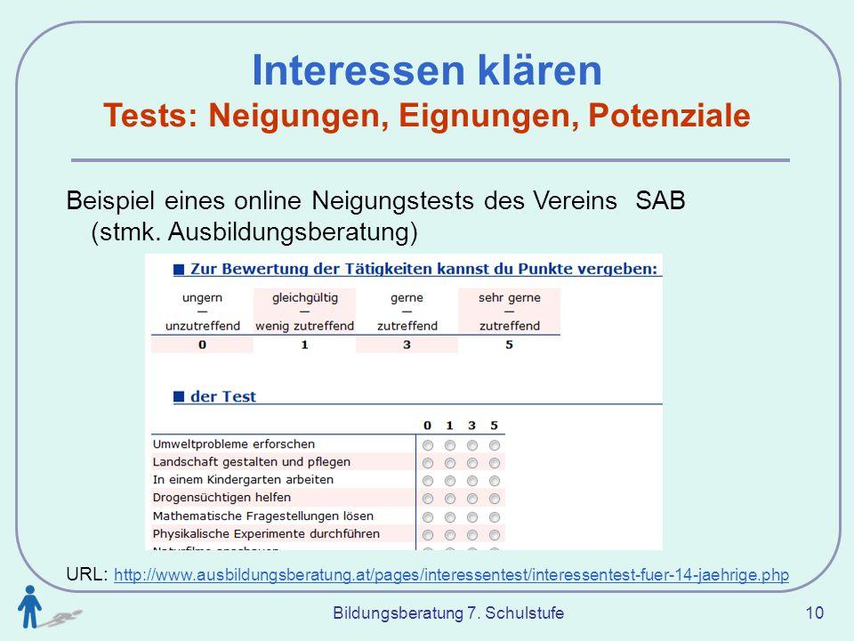 Bildungsberatung 7. Schulstufe 10 Interessen klären Tests: Neigungen, Eignungen, Potenziale Beispiel eines online Neigungstests des Vereins SAB (stmk.