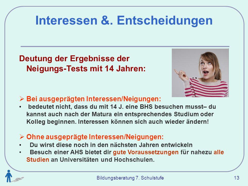 Bildungsberatung 7. Schulstufe 13 Interessen &. Entscheidungen Deutung der Ergebnisse der Neigungs-Tests mit 14 Jahren: Bei ausgeprägten Interessen/Ne