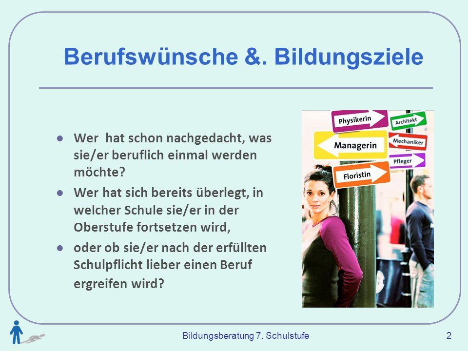 Bildungsberatung 7.Schulstufe 23 Schulische Ausbildung 5 Berufsbildende höhere Schule: siehe www.
