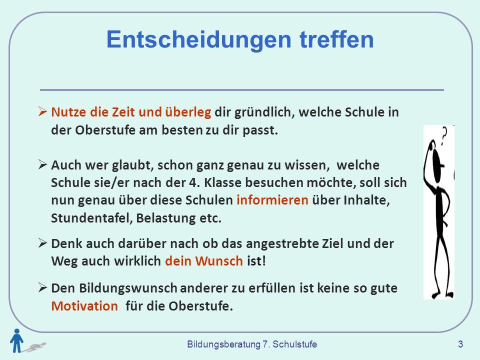 Bildungsberatung 7.Schulstufe 14 Interessen &.