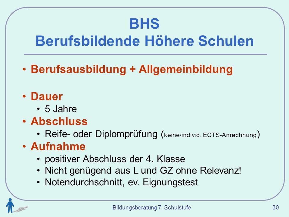 Bildungsberatung 7. Schulstufe 30 BHS Berufsbildende Höhere Schulen Berufsausbildung + Allgemeinbildung Dauer 5 Jahre Abschluss Reife- oder Diplomprüf