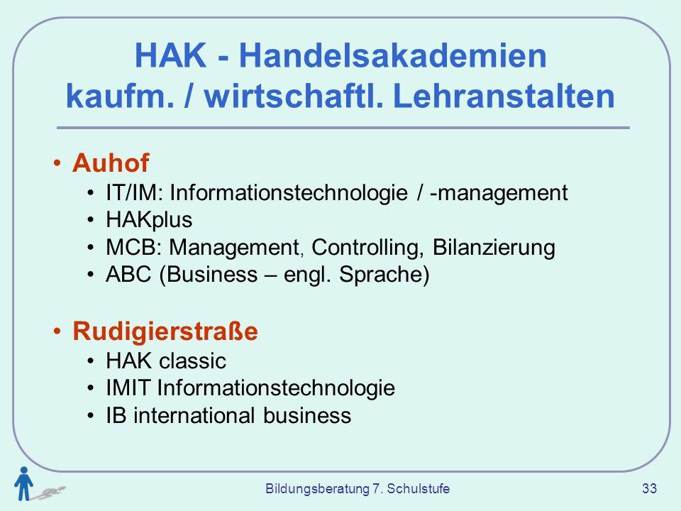 Bildungsberatung 7. Schulstufe 33 HAK - Handelsakademien kaufm. / wirtschaftl. Lehranstalten Auhof IT/IM: Informationstechnologie / -management HAKplu