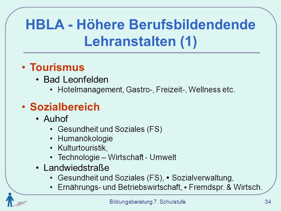 Bildungsberatung 7. Schulstufe 34 HBLA - Höhere Berufsbildendende Lehranstalten (1) Tourismus Bad Leonfelden Hotelmanagement, Gastro-, Freizeit-, Well