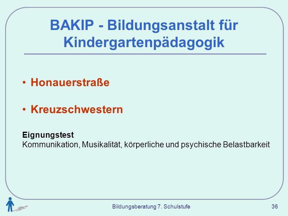 Bildungsberatung 7. Schulstufe 36 BAKIP - Bildungsanstalt für Kindergartenpädagogik Honauerstraße Kreuzschwestern Eignungstest Kommunikation, Musikali