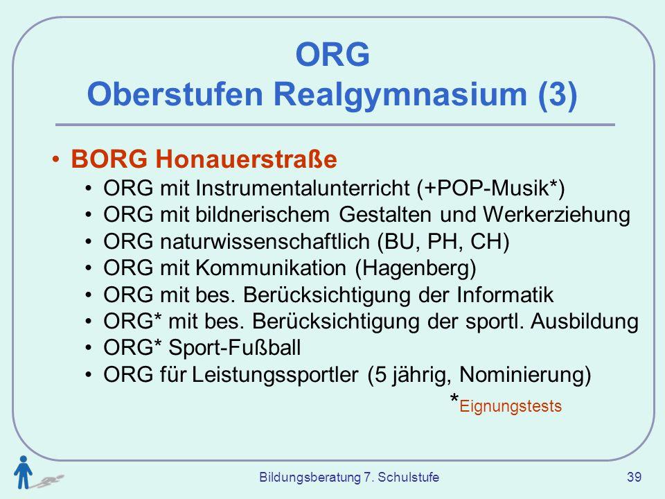Bildungsberatung 7. Schulstufe 39 BORG Honauerstraße ORG mit Instrumentalunterricht (+POP-Musik*) ORG mit bildnerischem Gestalten und Werkerziehung OR
