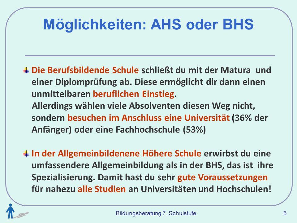 Bildungsberatung 7. Schulstufe 5 Möglichkeiten: AHS oder BHS Die Berufsbildende Schule schließt du mit der Matura und einer Diplomprüfung ab. Diese er