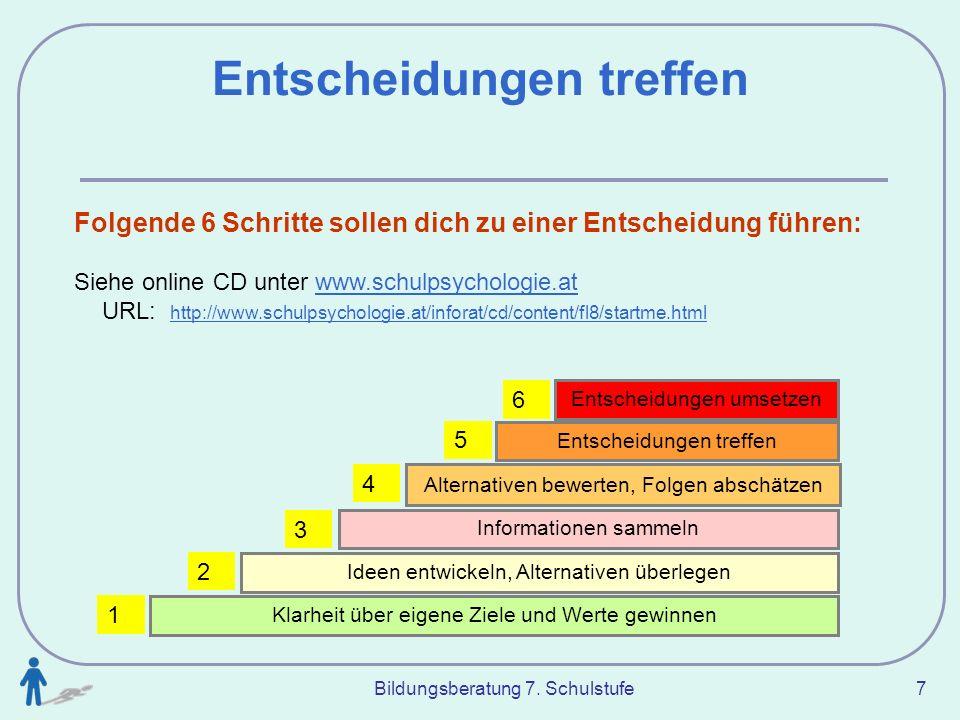 Bildungsberatung 7. Schulstufe 7 Entscheidungen treffen Folgende 6 Schritte sollen dich zu einer Entscheidung führen: Siehe online CD unter www.schulp